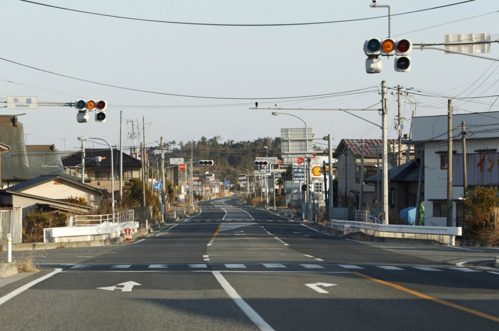 The empty Route 6 is seen in the Ushibumi district of Futaba town inside the Fukushima exclusion zone