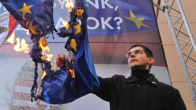 Ungarn Anhänger der rechtsextremistischen Jobbik verbrennen EU Fahne