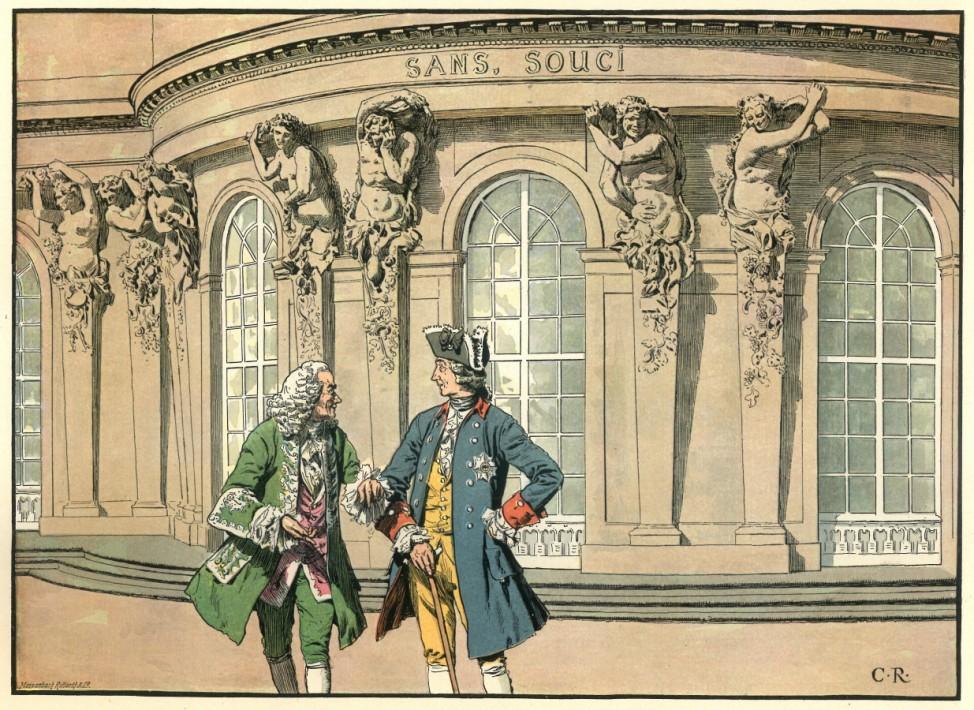 Der alte Fritz König Friedrich II. der Große Voltaire Schloss Sanssouci Repro: Oliver Das Gupta