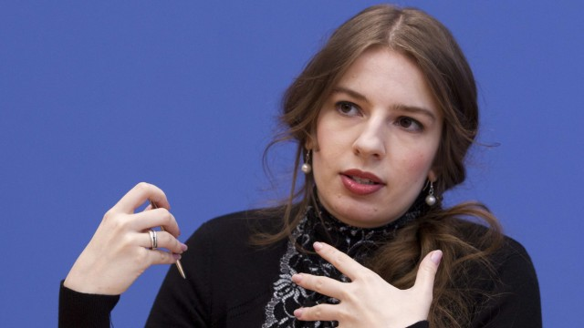 Pirate Party managing director Weisband speaks during news conference in Berlin