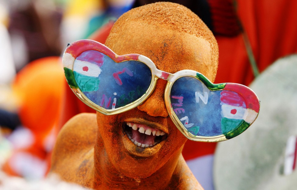 A Niger soccer fan cheers during their African Cup of Nations soccer match against Gabon in Libreville