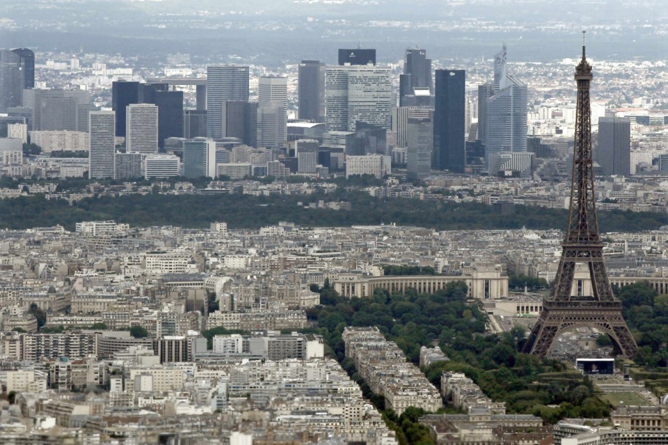 The Eiffel Tower and La Defence business district are seen in an aerial view in Paris on Bastille Day