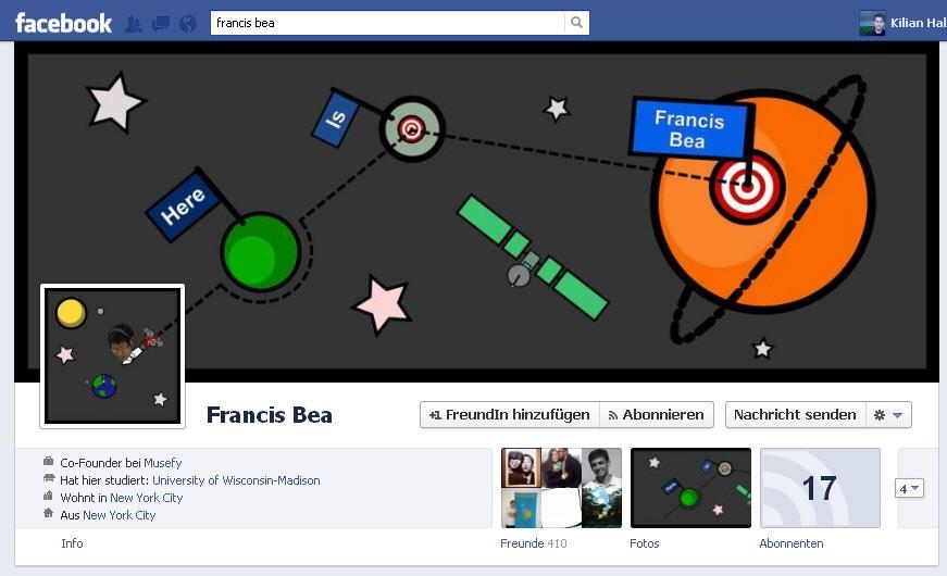 Screenshots von kreativen Facebook Timeline Layouts
