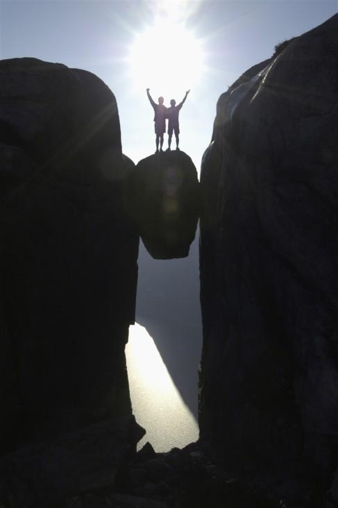 Geologie Felsen Erosion Verwitterung Lysefjord Norwegen Kjeragbolten