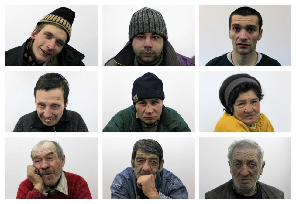 Combination picture shows portraits of homeless people inside an overcrowded shelter set up by the city hall in Bucharest