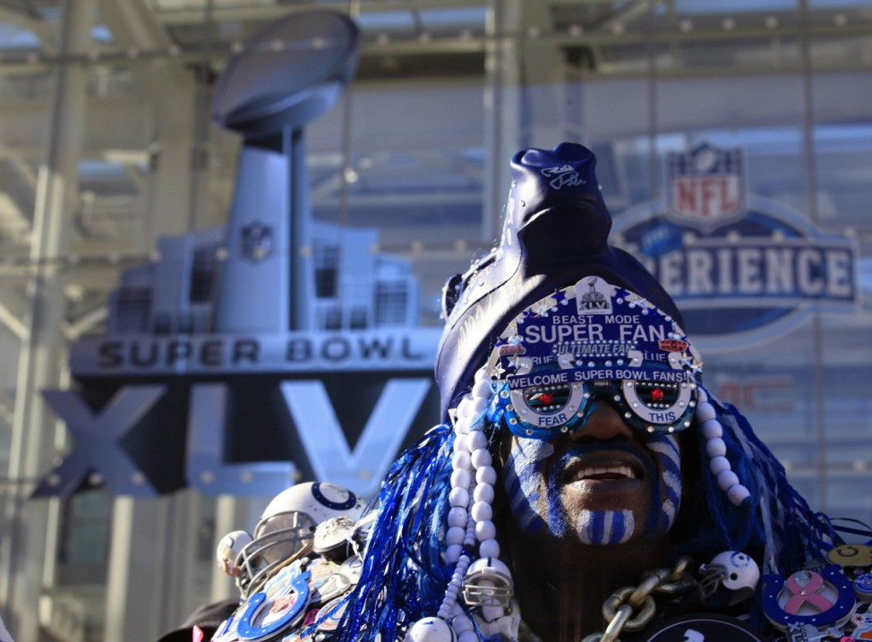 A football fan dresses up during the Super Bowl XLVI festivities in Indianapolis