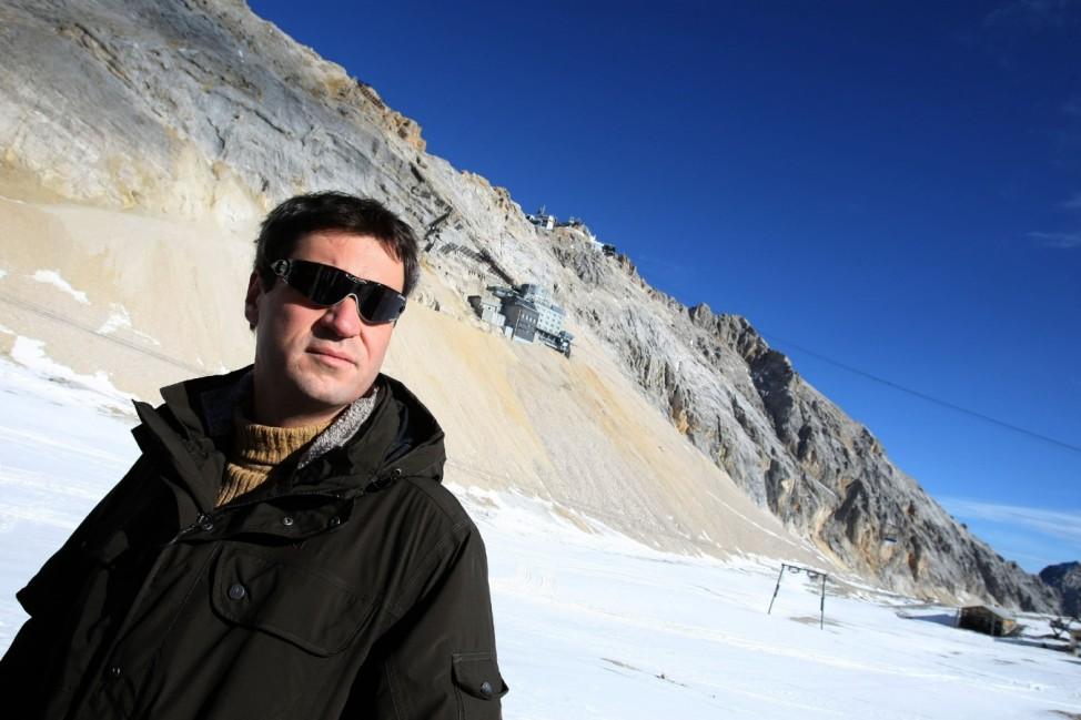Bayerns Umweltminister Söder auf der Zugspitze