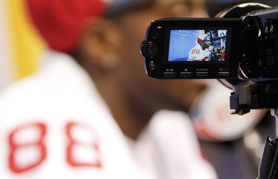 Giants wide receiver Hakeem Nicks is interviewed during media day for the NFL Super Bowl XLVI in Indianapolis