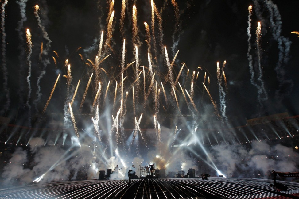 British rock band 'The Who' performs during NFL Super Bowl XLIV halftime show in Miami