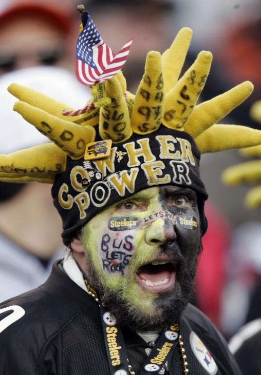 A Pittsburgh Steelers fan cheers on his team in Cincinnati Ohio