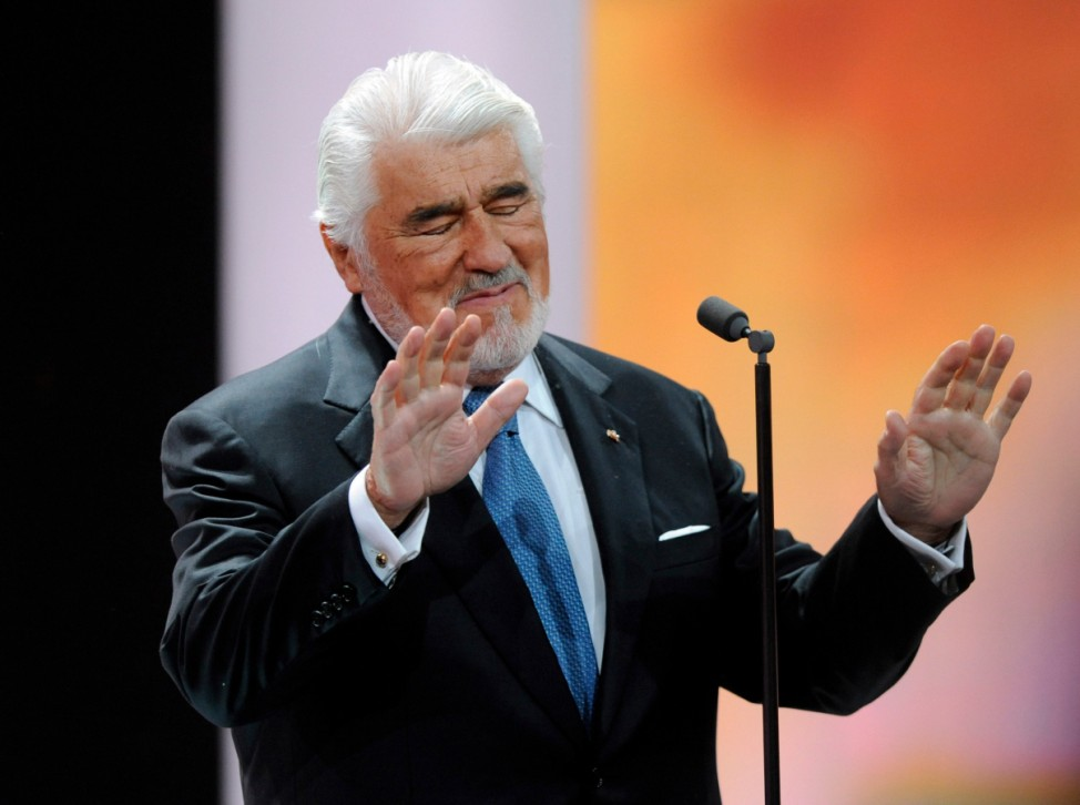 German actor Mario Adorf speaks before being awarded for Category 'Lifetime Achievement' during 47th Golden Camera award ceremony in Berlin