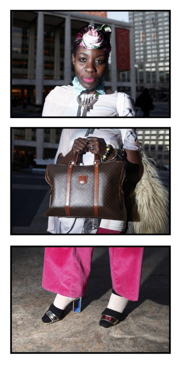 Marisn Kihogo poses in a series of three photographs in this combination photo outside of Lincoln Center, the site of the Fall/Winter 2012 New York Fashion Week