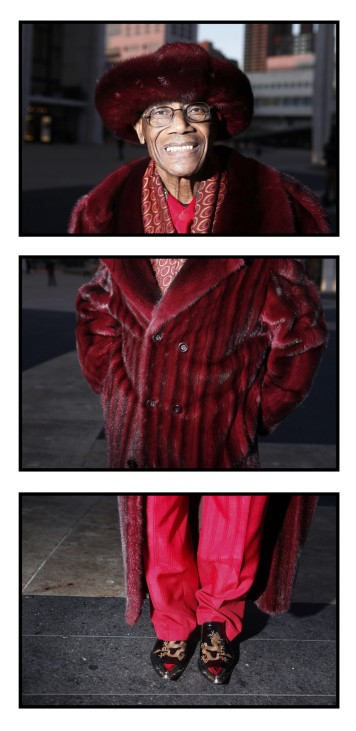 Arthur Gonsalves poses of a series of three photographs in this combination photo outside of Lincoln Center, the site of the Fall/Winter 2012 New York Fashion Week
