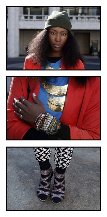 Athanaelle Paul poses for a series of portraits outside of Lincoln Center, the site of the Fall/Winter 2012 New York Fashion Week
