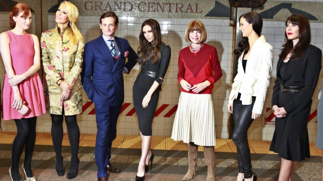 Hamish Bowles, Victoria Beckham and Anna Wintour attend the launch of Britain's GREAT campaign at Grand Central Station in New York