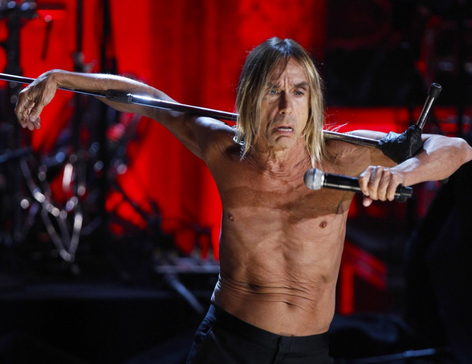 Singer Iggy Pop performs with the Stooges after being honored with the band during the 2010 Rock and Roll Hall of Fame induction ceremony in New York
