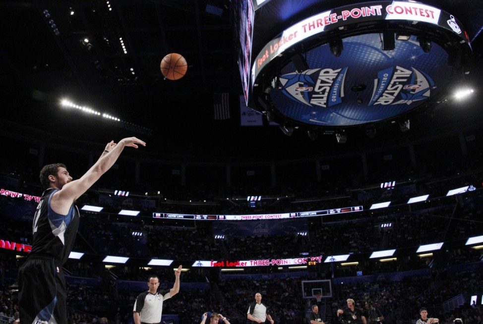 Love of the Timberwolves competes in the three-point contest during the NBA All-Star weekend in Orlando
