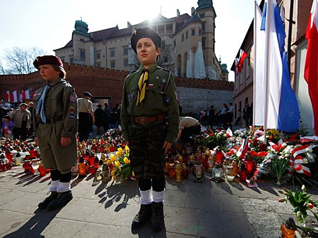 Kaczynski Wawel Bestattung Krakau Pfadfinder Getty
