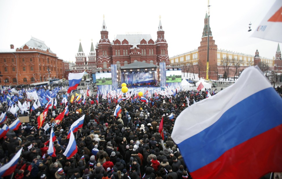 A general view shows supporters of Russian PM Putin during a rally held close to Moscow's Kremlin