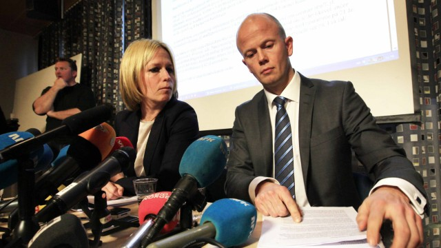 Prosecutors Engh and Holden attend a news conference in Oslo