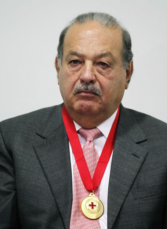 File photo of Businessman Slim after receiving the Medal of Honour and Merit of the Mexican Red Cross in Mexico City
