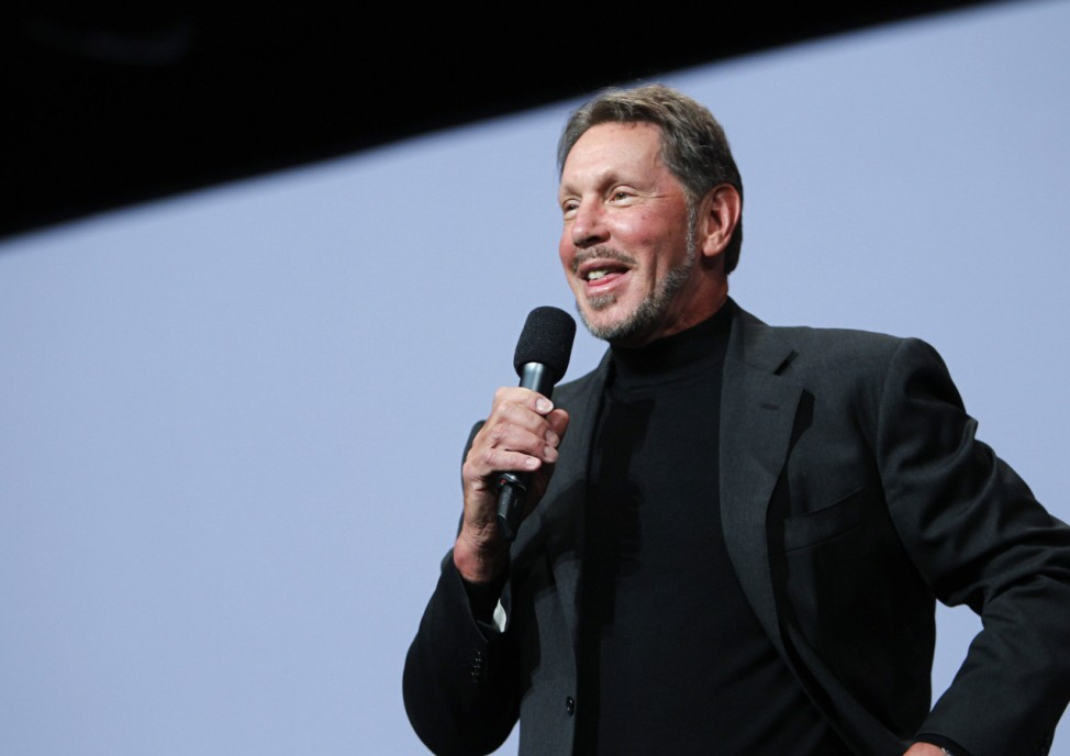 File photo of Oracle CEO Larry Ellison addressing the audience during his keynote address at Oracle Open World in San Francisco