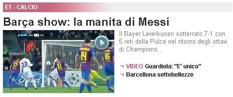 Screenshot Gazzetta Messi