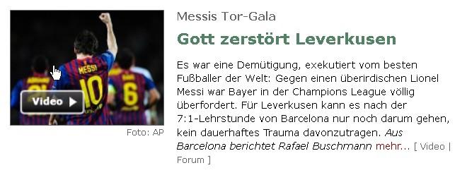 Presse Messi nach Gala gegen Leverkusen Spiegel