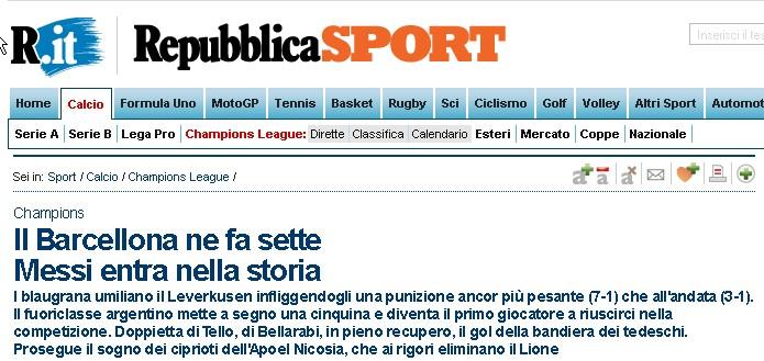 Screenshot Repubblica Messi