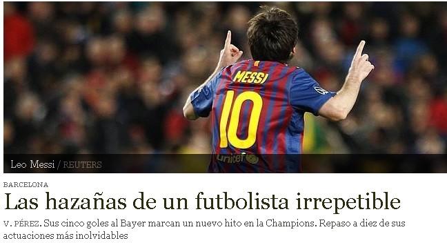 Messi Presseberichte Screenshots nach Gala gegen Leverkusen ABC