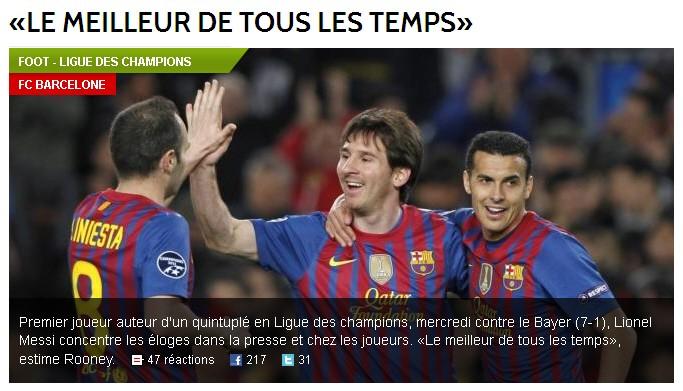Presse Messi nach Gala gegen Leverkusen Equipe