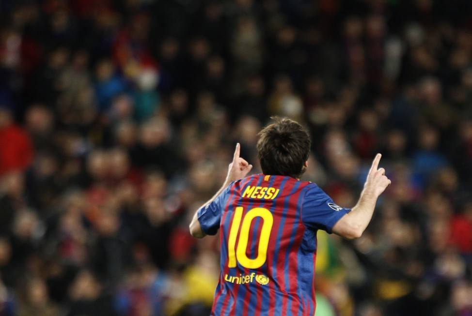 Barcelona's Messi celebrates after scoring a goal against Bayer Leverkusen during their Champions League last 16 second leg soccer match in Barcelona