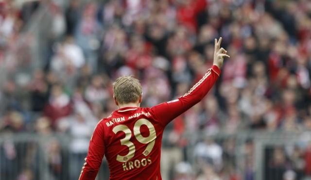 Bayern Munich's Kroos celebrates goal during soccer match against Hoffenheim in Munich