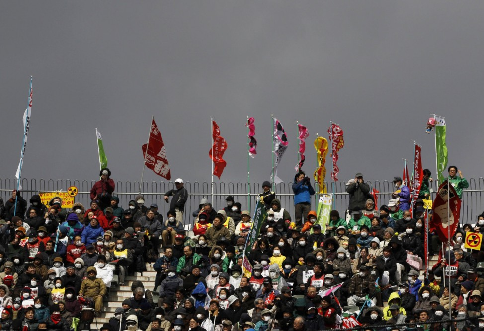Protesters take part in an anti-nuclear rally in Koriyama during the first anniversary of the March 11 earthquake and tsunami
