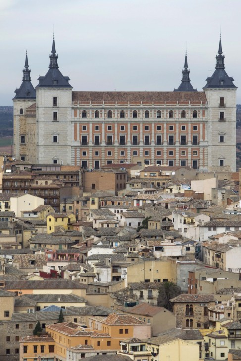 A general view shows the Alcazar in Toledo