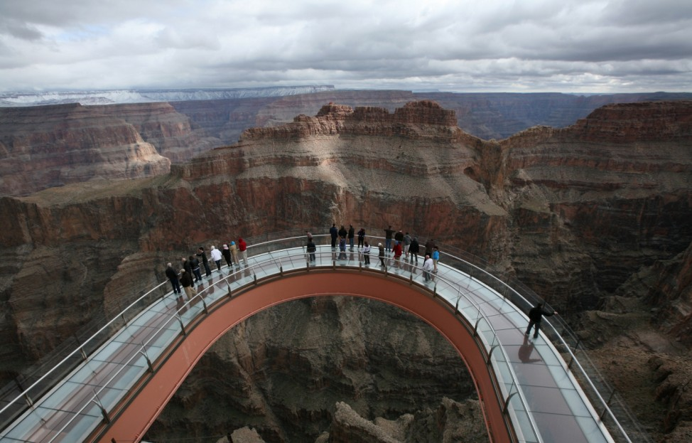 A skywalk extends out over the Grand Canyon in this view from the incomplete building that houses the skywalk, on the Hualapai Indian Reservation