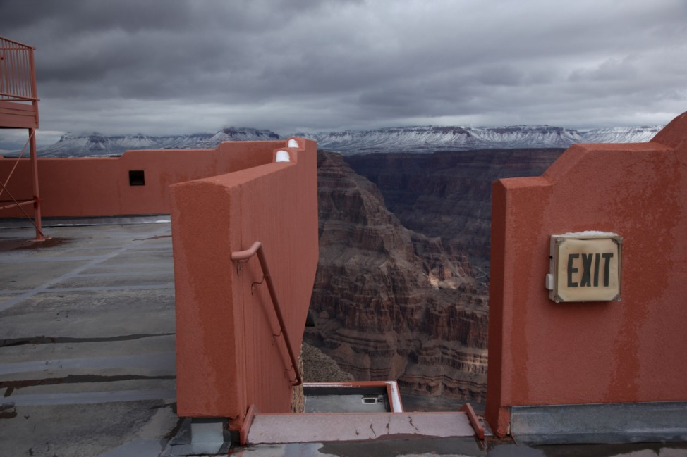 A view of the Grand Canyon is shown from an upper level of an incomplete building housing a skywalk, on the Hualapai Indian Reservation, Arizona