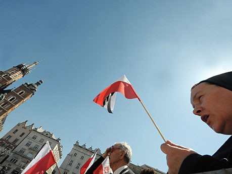 Kaczynski Ankunft Krakau Polin AFP