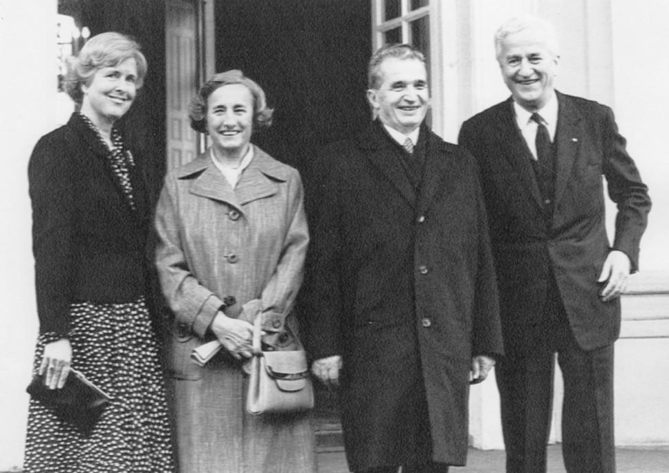 Marianne von Weizsäcker, Elena Ceaucescu, Nicolae Ceausescu und Richard von Weizsäcker, 1984