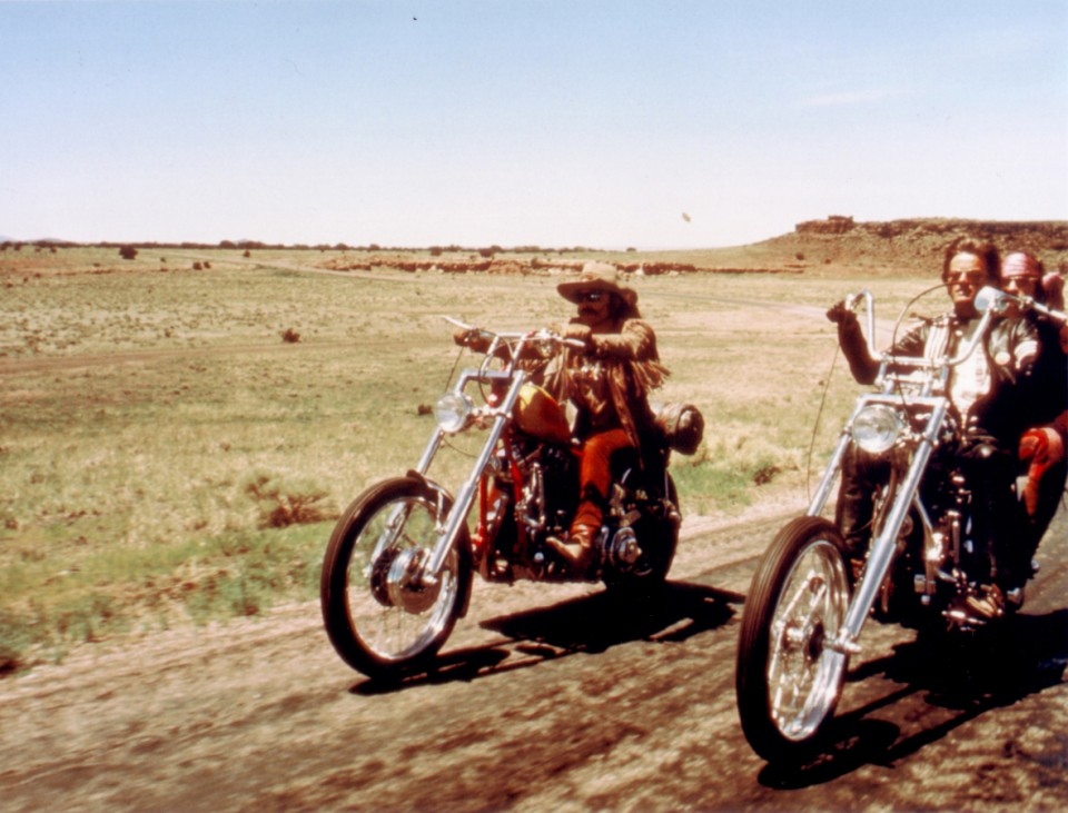 Actors Dennis Hopper, Peter Fonda and Jack Nicholson are shown in this undated publicity photograph, in a scene from their 1969 film 'Easy Rider'.