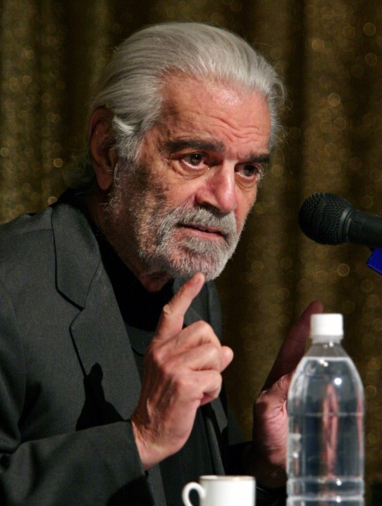 Egyptian international movie star Omar Sharif speaks during a news conference in Cairo