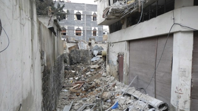 A view shows damaged buildings in the old city of Homs