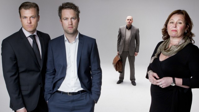 The lawyer team of accused Norwegian militant Breivik, from left: Jordet, Groen,  Lippestad and Baera, pose for a picture in Oslo
