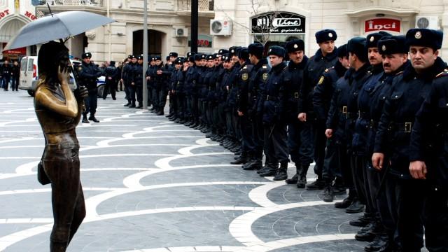 Baku, Hauptstadt von Aserbeidschan, vor dem Eurovision Song Contest