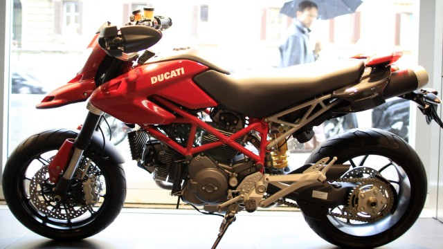 A Ducati Hypermotard is seen in a Ducati motorbike shop in Rome