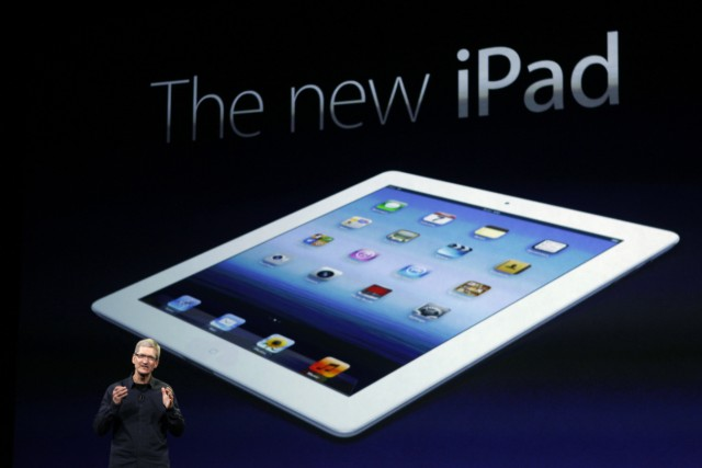 Apple CEO Cook speaks during an Apple event as he introduces the new iPad  in San Francisco