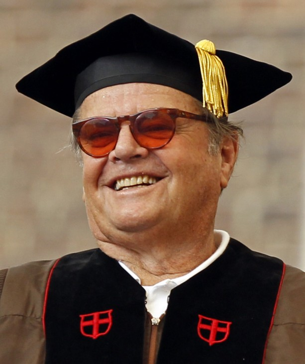 Actor Jack Nicholson smiles before receiving an honorary doctorate degree in Fine Arts during the 243rd  Brown University Commencement Exercises in Providence