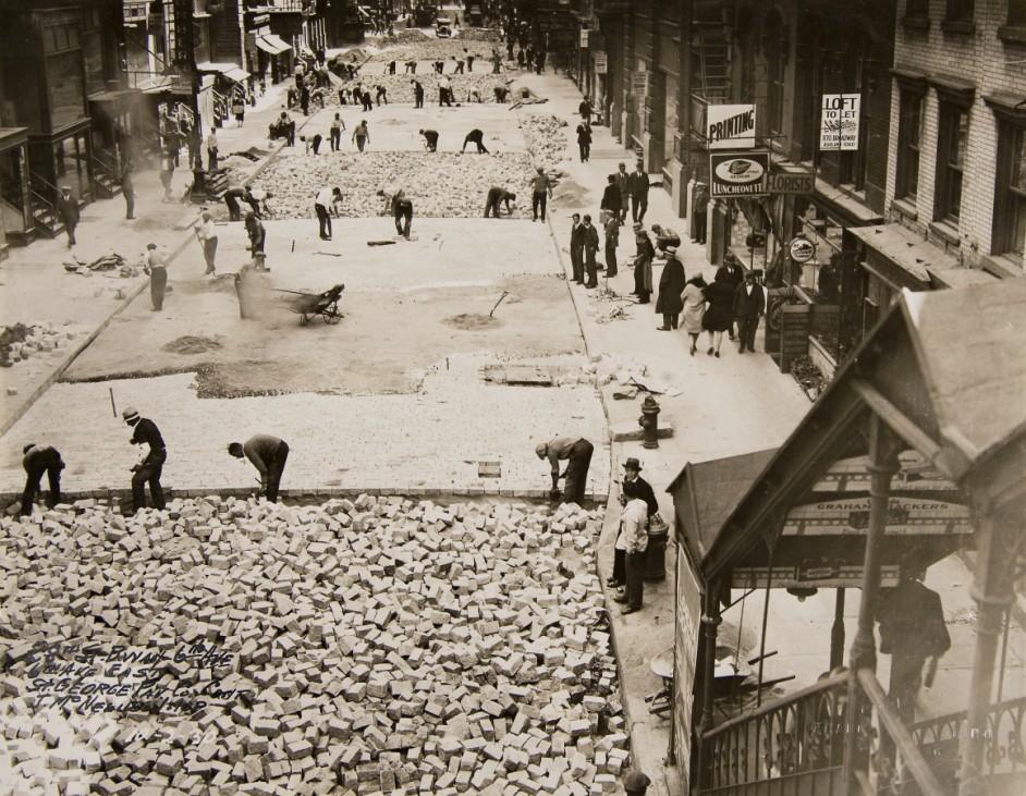 New Yorker Stadtarchiv Straßenbauarbeiten