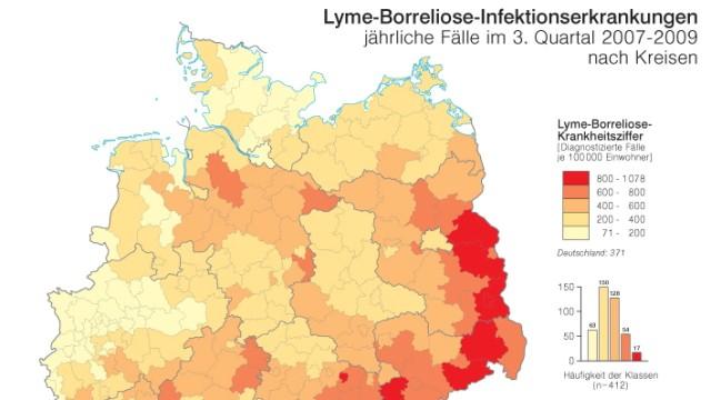 Borreliose-Karte: Verteilung der Borreliose-Infektionen in Deutschland