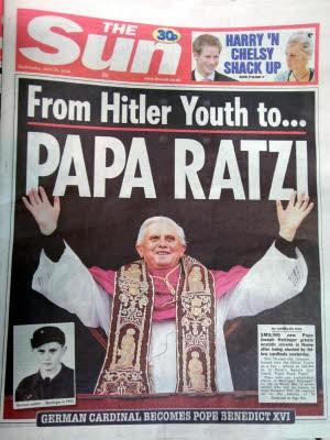 Ausrutscher nach rechts, The Sun, Papst, Foto: dpa